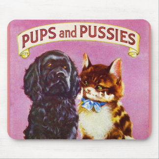Vintage Kitsch Pups and Pussies Cat Dog Kitten Mouse Pad