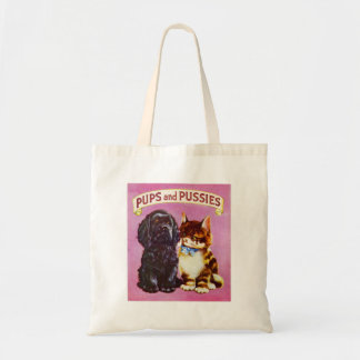 Vintage Kitsch Pups and Pussies Cat Dog Kitten Tote Bag