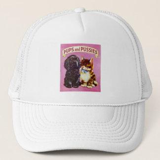 Vintage Kitsch Pups and Pussies Cat Dog Kitten Trucker Hat