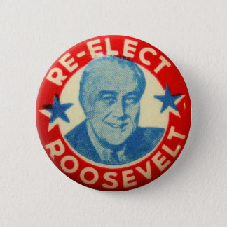 Vintage Kitsch Re-Elect Roosevelt Button Art FDR