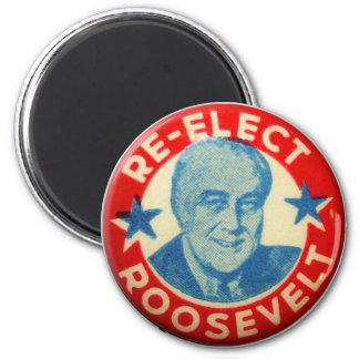 Vintage Kitsch Re-Elect Roosevelt Button Art FDR 2 Inch Round Magnet