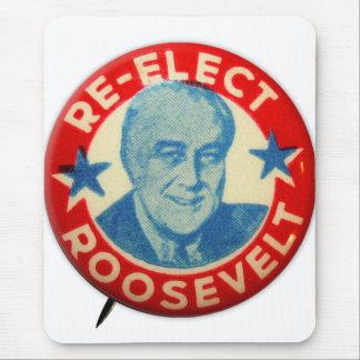 Vintage Kitsch Re-Elect Roosevelt Button Art FDR Mouse Pad