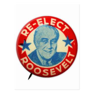 Vintage Kitsch Re-Elect Roosevelt Button Art FDR Postcard