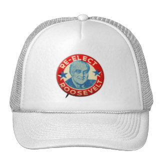 Vintage Kitsch Re-Elect Roosevelt Button Art FDR Trucker Hat