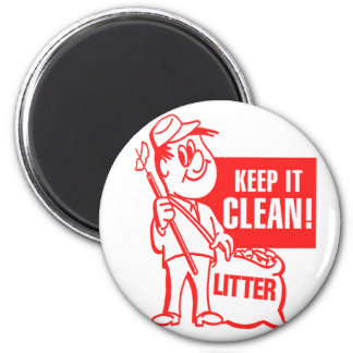 Vintage Kitsch Recycling Keep It Clean Litter Guy Magnet
