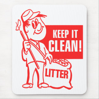 Vintage Kitsch Recycling Keep It Clean Litter Guy Mouse Pad