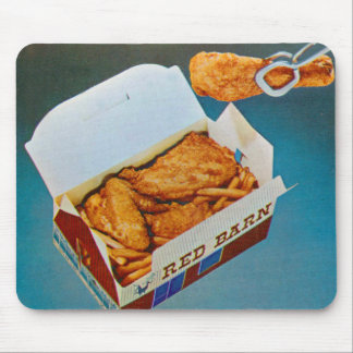 Vintage Kitsch Red Barn Fried Chicken Ad Art Mouse Pad