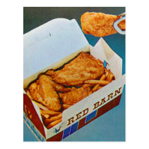 Vintage Kitsch Red Barn Fried Chicken Ad Art Postcard