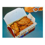 Vintage Kitsch Red Barn Fried Chicken Ad Art Post Cards