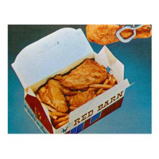 Vintage Kitsch Red Barn Fried Chicken Ad Art Postcard