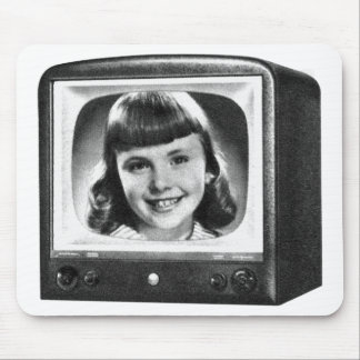 Vintage Kitsch Retro 50s BW TV Set with Girl Mouse Pad
