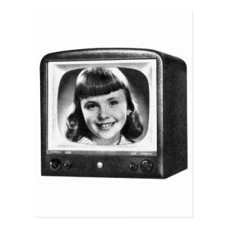 Vintage Kitsch Retro 50s BW TV Set with Girl Postcard