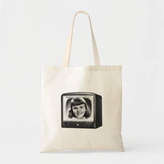 Vintage Kitsch Retro 50s BW TV Set with Girl Tote Bag