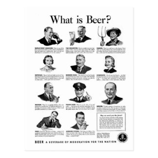 Vintage Kitsch Retro Beer Bier 'What is Beer' Ad Postcard