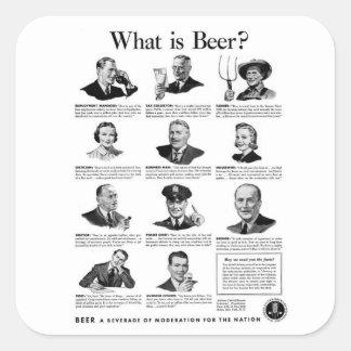 Vintage Kitsch Retro Beer Bier 'What is Beer' Ad Square Sticker