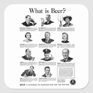 Vintage Kitsch Retro Beer Bier 'What is Beer' Ad Square Sticker