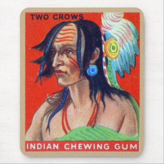 Vintage Kitsch Retro Indian Chewing Gum Two Crows Mouse Pad