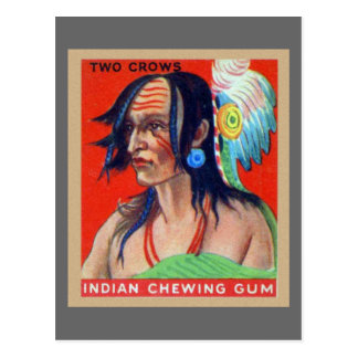 Vintage Kitsch Retro Indian Chewing Gum Two Crows Postcard