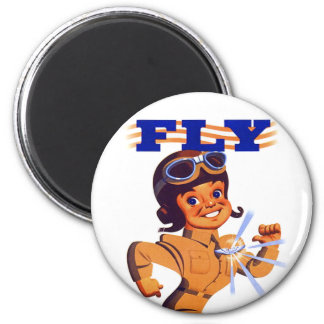 Vintage Kitsch Retro WW2 Pilot Air Force Cartoon Magnet