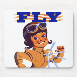 Vintage Kitsch Retro WW2 Pilot Air Force Cartoon Mouse Pad