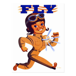 Vintage Kitsch Retro WW2 Pilot Air Force Cartoon Postcard