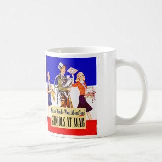 Vintage Kitsch Schools At War World War 2 Poster Coffee Mug