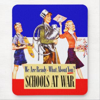 Vintage Kitsch Schools At War World War 2 Poster Mouse Pad