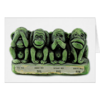 Vintage Kitsch See No Evil, Hear No Evil Monkeys Card