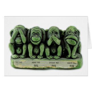 Vintage Kitsch See No Evil, Hear No Evil Monkeys Card