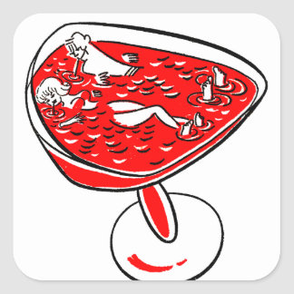 Vintage Kitsch Sixtie Gag Cartoon Hot Tub Girl Square Sticker