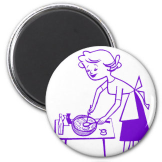 Vintage Kitsch Sixties TV Cooking Mom Cartoon Magnets