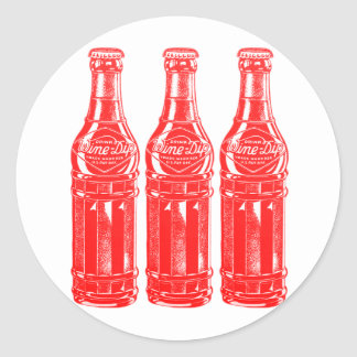 Vintage Kitsch Soda Pop Bottle Wine Dip Classic Round Sticker