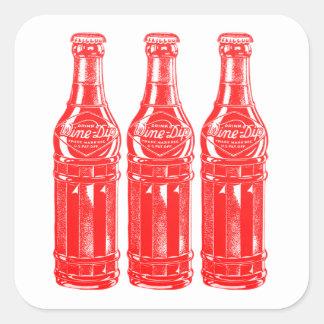 Vintage Kitsch Soda Pop Bottle Wine Dip Square Sticker