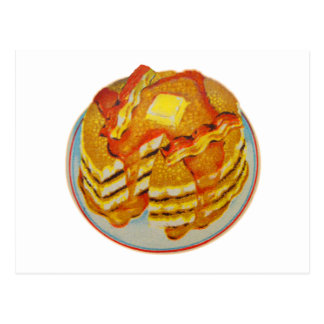 Vintage Kitsch Stack of Pancakes and Bacon Postcard