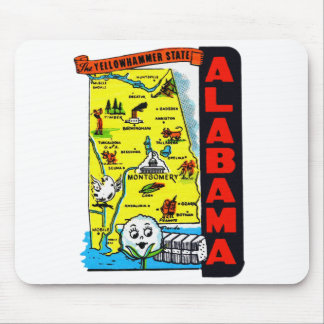 Vintage Kitsch State of Alabama Travel Decal Mouse Pad