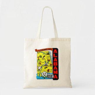 Vintage Kitsch State of Alabama Travel Decal Tote Bag