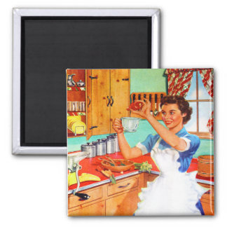 Vintage Kitsch Suburban Housewife Cooking Kitchen 2 Inch Square Magnet