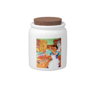Vintage Kitsch Suburban Housewife Cooking Kitchen Candy Jars