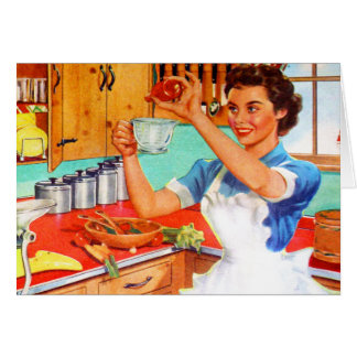 Vintage Kitsch Suburban Housewife Cooking Kitchen Greeting Card