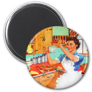 Vintage Kitsch Suburban Housewife Cooking Kitchen Fridge Magnet