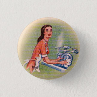 Vintage Kitsch Suburbs Housewife Doing Dishes Button