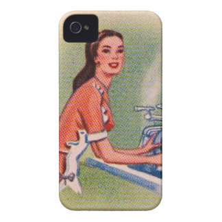 Vintage Kitsch Suburbs Housewife Doing Dishes Case-Mate iPhone 4 Case