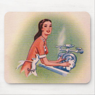 Vintage Kitsch Suburbs Housewife Doing Dishes Mouse Pad