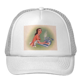 Vintage Kitsch Suburbs Housewife Doing Dishes Trucker Hat