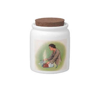Vintage Kitsch Suburbs Housewife Tea Kettle Candy Jar