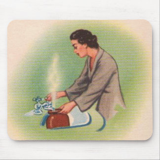 Vintage Kitsch Suburbs Housewife Tea Kettle Mouse Pad