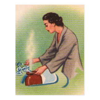 Vintage Kitsch Suburbs Housewife Tea Kettle Postcard