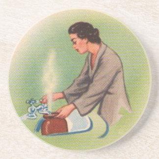 Vintage Kitsch Suburbs Housewife Tea Kettle Sandstone Coaster