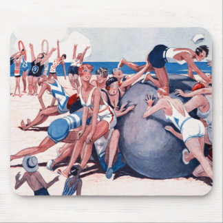 Vintage Kitsch Swimming Giant Beach Ball Party Mouse Pad