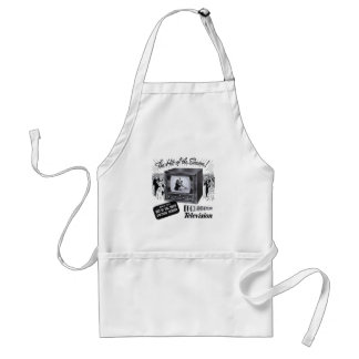 Vintage Kitsch Television B&W TV AD Adult Apron
